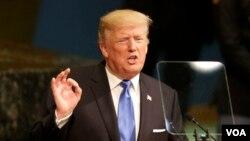 도널드 트럼프 미국 대통령이 지난 19일 뉴욕 유엔본부에서 열린 72차 유엔총회에서 기조연설을 하고 있다.