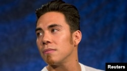 Olympic speed skater Apolo Ohno is seen in New York April 24, 2013.