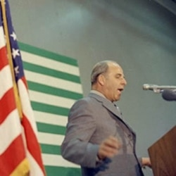 Gaylord Nelson speaking in Denver, Colorado on Earth Day in 1970