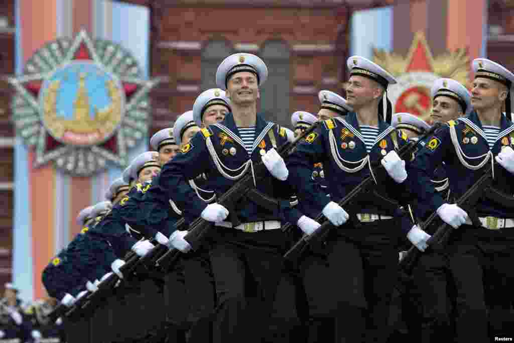 Russian troops march in Red Square in Moscow, Russia, during the Victory Day military parade to celebrate 74 years since the victory in WWII.