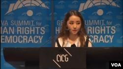 탈북 대학생 박연미 씨가 24일 스위스 제네바에서 열린 국제 인권회의에서 연설하고 있다.