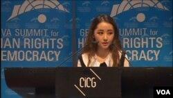 탈북 대학생 박연미 씨가 지난해 2월 스위스 제네바에서 열린 국제 인권회의에서 연설하고 있다. (자료사진)