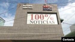 Estudios del canal de televisión 100% Noticias en el centro de Managua, Nicaragua. Foto: 100% Noticias.