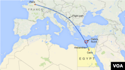 이집트 군 당국이 20일 알렉산드리아 북쪽 지중해상에서 추락한 이집트항공 여객기 잔해를 발견했다고 밝혔다. 지도에서 붉은 원이 여객기 잔해가 발견된 지점.