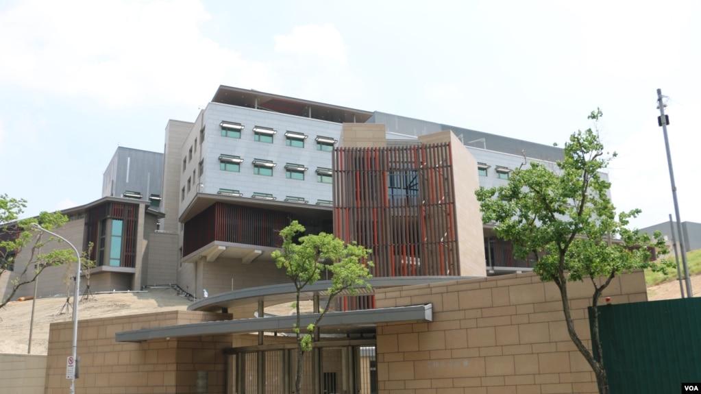 進入施工尾聲的美國在台協會駐台北辦事處新館。 (美國之音楊明拍攝)