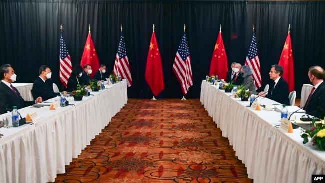 美中高层会谈2021年3月18日与 19日在阿拉斯加州安克雷奇举行(法新社)