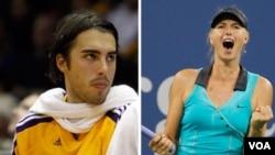 Pebasket Los Angeles Lakers asal Slovenia Sasha Vujacic dan bintang tenis Rusia Maria Sharapova bertunangan awal pekan ini.