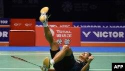 Anthony Ginting saat mengalahkan Kento Momota di final China Terbuka 2018, yang berlangsung di Changzhou, China, 23 September 2018.