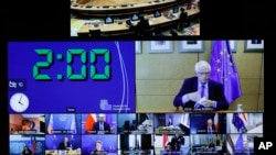 Mku wa sera za kigeni wa EU Josep Borrell akihutubia kikao cha wanachama kwa njia ya kimitandao