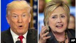 Hai ứng viên Tổng thống Donald Trump (trái) và Hillary Clinton.