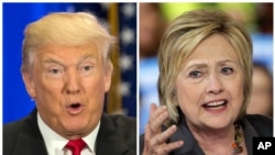 This photo combo of file images shows U.S. presidential candidates Donald Trump and Hillary Clinton.