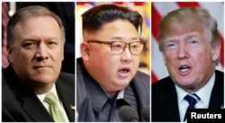 FILE - A combination photo shows CIA Director Mike Pompeo, left, in Washington, North Korean leader Kim Jong Un, center, in Pyongyang, North Korea, and U.S. President Donald Trump in Palm Beach, Florida.