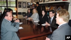 Cambodian foreign minister Hor Namhong meeting with US Senator Jim Webb at the Senate on Wednesday, June 13, 2012, during his official visit to the United States.