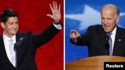 Phó Tổng thống Joe Biden (phải), ứng cử viên phó tổng thống Đảng Dân chủ và Dân biểu Paul Ryan ứng cử viên phó tổng Đảng Cộng hòa