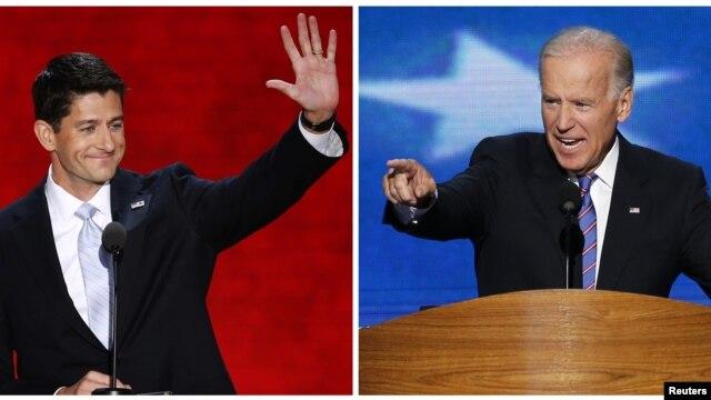 Vis Prezidan Joe Biden (a dwat) epi kandida repibliken pou pòs Vis Prezidan an, Depite Paul Ryan (Foto achiv).