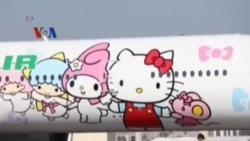 Pesawat Hello Kitty Mendarat di AS