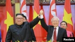 Ông Nguyễn Phú Trọng tiếp ông Kim Jong-un ở Hà Nội, 1 tháng Ba, 2019.