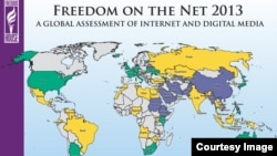自由之家有關《2013網絡自由》圖表數據解說:綠色 - 自由; 黃色 - 部分自由; 紫色 - 不自由