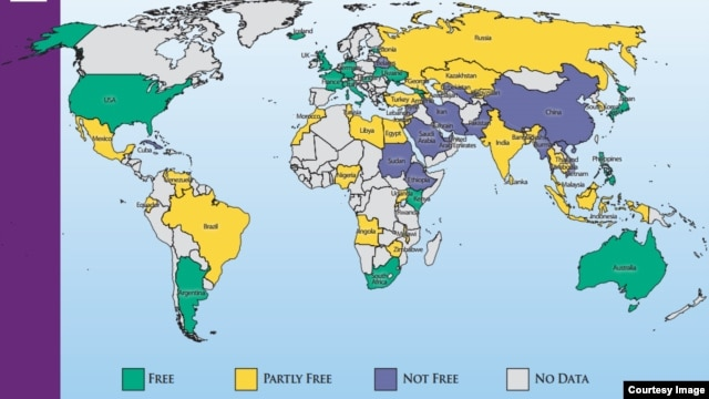 Freedom on the Internet 2013 by country (image courtesy of Freedom House).