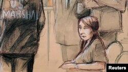 擅闖海湖莊園的中國女子張玉婧參加聽證的法庭素描。(2019年4月8日)