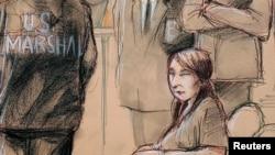 擅闖海湖莊園女子張玉婧參加聯邦法庭聽證的畫像。