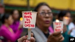 印度达兰萨拉的流亡藏人举行支持香港的集会。(2019年8月19日)
