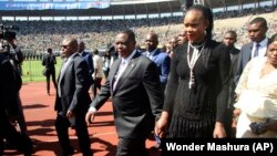 Constantino Chiwenga and his estranged wife, Marry, at the National Sports Stadium.