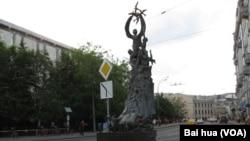 莫斯科郊外的一處二戰紀念碑。俄羅斯有很多二戰紀念碑,但二戰史很少提中國戰場。(美國之音白樺拍攝)