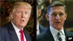 From left, President Donald Trump and former national security adviser Micheal Flynn.