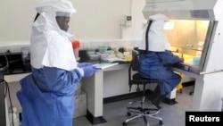 우간다 엔테베의 질병 퇴치 센터에서 의료진이 에볼라 바이러스 관련 실험을 하고 있다. (자료사진)