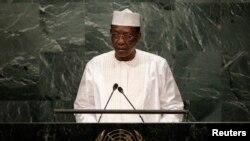 Le président Idriss Deby Itno donne un discours devant l'assemblée des Nations unies à Manhattan, New York, le 20 septembre 2016.