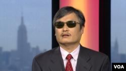 陈光诚在纽约接受美国之音采访 (美国之音拍摄)
