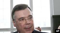 Former Prime Minister of Iceland Geir Haarde, seen in court in Reykjavik Monday April 23, 2012.