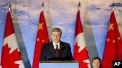 Perdana Menteri KanadaStephen Harper dalam sebuah kunjungan di Beijing. (Foto: Dok)