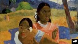 "Detail of French artist Paul Gauguin's 1892 oil painting, ""Nafea Faa Ipoipo"" (""When Will You Marry?""), which has sold for nearly $300 million."