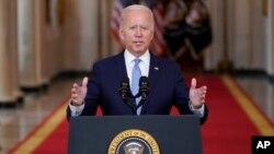美国总统拜登在白宫就阿富汗战争的结束发表讲话。(2021年8月31日)
