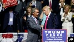 前英国独立党领导人奈杰尔·法拉奇在川普竞选集会上(2016年8月24日)