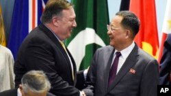 마이크 폼페오 미국 국무장관과 리용호 북한 외무상이 지난 4일 싱가포르에서 열린 아세안지역안보포럼(ARF) 기념촬영 행사장에서 악수하고 있다.