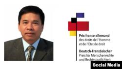 Nhà hoạt động Vũ Quốc Ngữ được Bộ Ngoại giao Đức - Pháp trao giải nhân quyền năm 2019. Photo Twitter Vu Quoc Ngu.