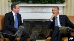 美國總統奧巴馬(右)和英國首相卡梅倫在白宮舉行會面。