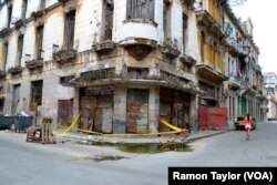 A building in disrepair in Havana, Cuba.