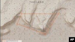 A July 18, 2011 sketch-map by the International Court of Justice shows an area around Cambodia's Preah Vihear temple and surrounding territories claimed by Thailand, which the Court identifies as a 'Provisional Demilitarized Zone.' The July 18 ruling is t