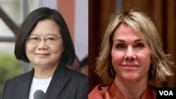 台灣總統蔡英文(左)與美國常駐聯合國代表凱莉·克拉夫特大使。