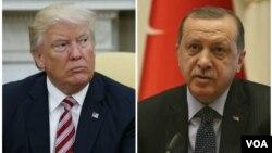 دونالد ترامپ رئیس جمهوری ایالات متحده (چپ) و رجب طیب اردوغان رئیس جمهوری ترکیه