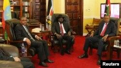 Premijer Etiopije Hajlemarijam Desalen, predsednik Južnog Sudana Salva Kir i predsednik Kenije Uhuru Kenjata (s leva) danas u Džubi