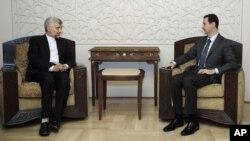 敘利亞總統阿薩德(右)與到訪的伊朗最高國家安全委員會負責人薩伊德‧賈利利 (左)會面