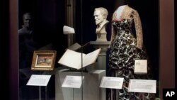 "A display from the ""Giving in America"" which showcases the role of philanthropy in shaping American civic culture, including museums, libraries, orchestras, universities and hospitalsin seen in Washington, Nov. 23, 2015."