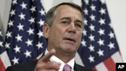 El saliente presidente de la Cámara de Representantes de EE.UU. John Boehner habló con los periodistas en el Capitolio el martes, 27 de octubre de 2015.