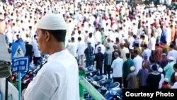 Pelaksanaan Salat Idul Fitri di halaman Masjid Raya Medan, Sumatera Utara. (Foto ilustrasi/Courtesy: Ratni Hardiana/dok).