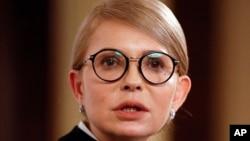 Former Ukrainian prime minister Yulia Tymoshenko speaks during her interview with The Associated Press in Kyiv, Ukraine, Feb. 4, 2019.